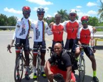Victorious Time Trial team with Team Manager