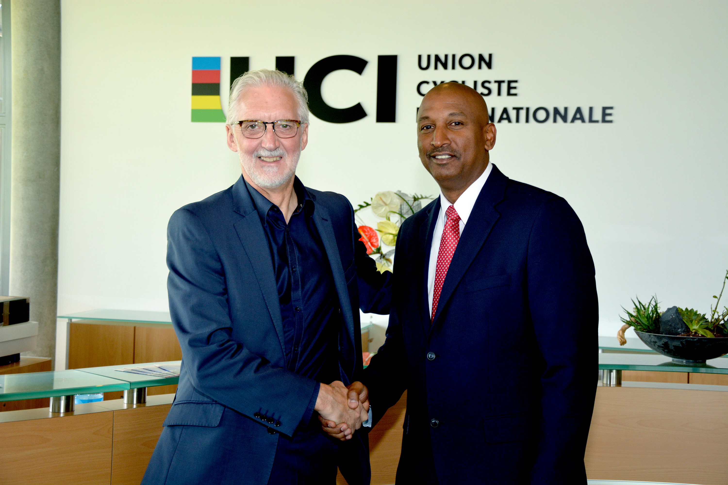 UCI President, Brian Cookson (left) and TTCF President, Robert Farrier (right) at UCI HQ in Aigle, Switzerland